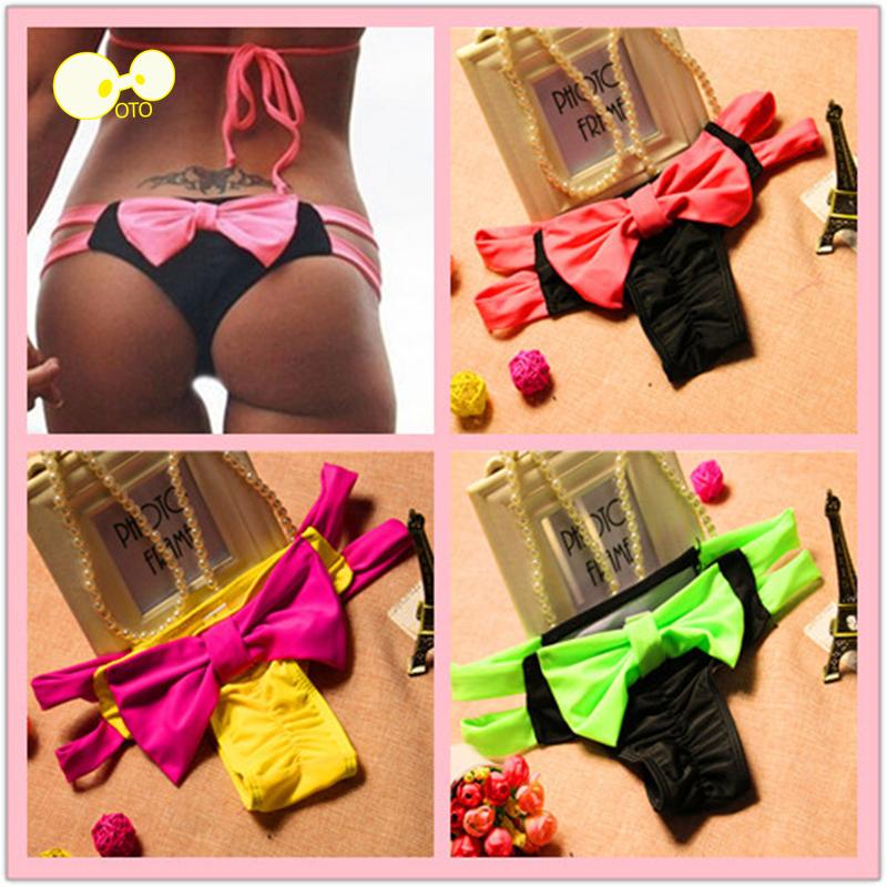 Loss Promotion Big Bowknot Patchwork Thong Women Bikini Bottoms 2016 Sexy Brazilian Swimwear Female String Bathing Suit Swimsuit(China (Mainland))