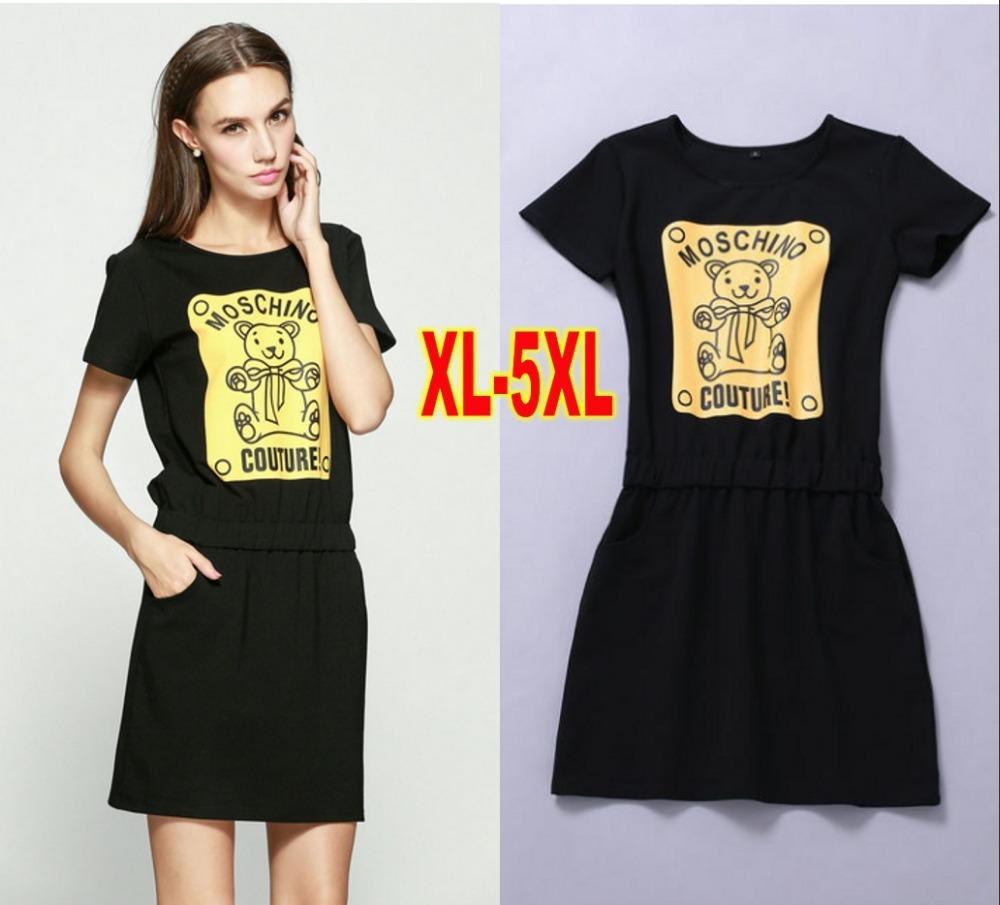 2015 new summer casual women dress fashion Bear Pattern Dresses plus size XL-5XL vestidos vestido Black(China (Mainland))