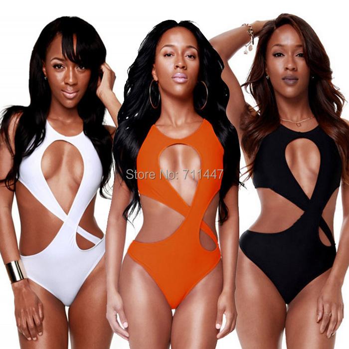 Big Bust Swimwear Sexy White Women's 2015 Swimwear One Piece Swim Suit Monokini Bodysuit high Cut Out Halter Hot Bathing Suits(China (Mainland))