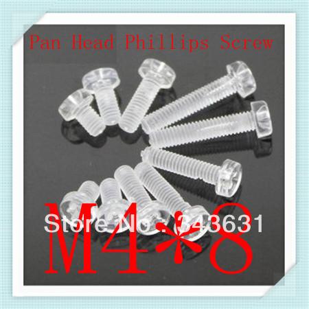 200pcs High Quality Nylon Plastic M4*8 Pan Head  Phillips Countersunk Transparent Machine Screws<br><br>Aliexpress