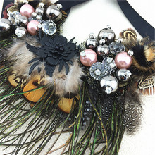 Multi ethnic Elegant Fashion Necklace 2015 New Latest Design Choker Flower Feather Statement Necklaces Pendants Women