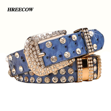 Buy New Fashion Rhinestone belts women Luxury Designer Genuine leather belt High Cow second layer skin strap female for $13.44 in AliExpress store