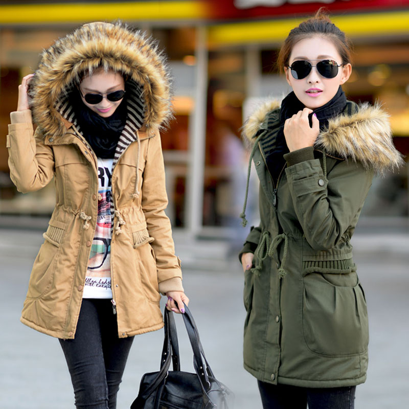 Large fur collar Army Green wadded jacket 2013 winter thickening slim cotton-padded female medium-long women's