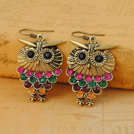 Bohemia Style Colorful Owl Shape Dangle Hook Earring, Fashion Bronze Plated Alloy Muilti Color Crystal Drop Earrings for Women(China (Mainland))