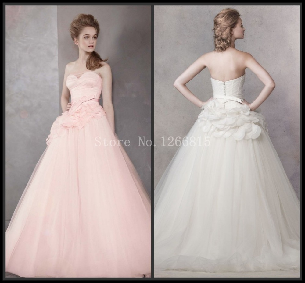 Aliexpress Buy 2014 Modern Exquisite White Pink Ball Gown Wedding Dresses Sweetheart