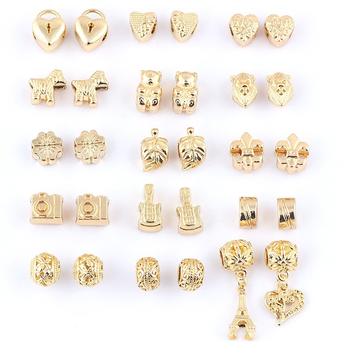 Online cheap wholesale mix beads 18k gold plated alloy big for How much does pandora jewelry pay