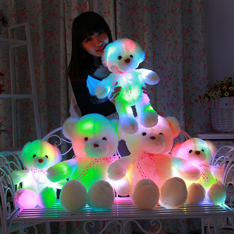 Big Bear Plush Stuffed Animals Soft Flashlight Led Luminous Glow Toys Christmas Birthday Gift Dolls For Girlfriend Kid Children(China (Mainland))