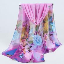 2017 Hot sale Woman Silk Scarf Printing Hijab Women's Scarves Fashion Chiffon Silk soft Scarfs Shawl Scarves Wraps 043(China (Mainland))