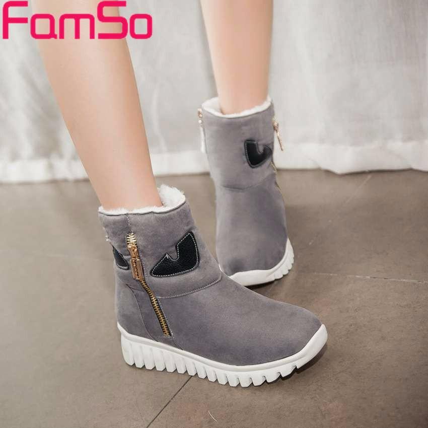 ซื้อ ขนาดบวก34-43 2016รองเท้าผู้หญิงแฟชั่นใหม่สีดำสีแดงออกแบบรองเท้าข้อเท้าแพลตฟอร์มฤดูหนาวเต็มขนรองเท้าหิมะSBT4027