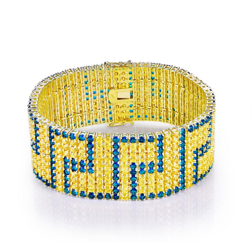 CQueen Luxury Jewelry Engagement Bracelet Femme Sapphire Citrine 18K White Gold Plated Fashion Bracelets for Women Wholesale