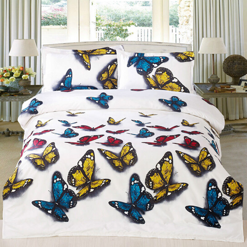 Sale Duvet Cover Pillowcase Quilt Cover Bedding Set Queen Flying Butterfly O(China (Mainland))
