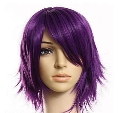 Vogue Stylish Purple Short Straight Cosplay Party Men s Hair Full Wigs