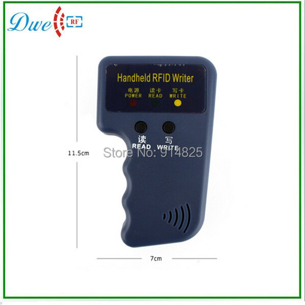 Free shipping  handheld 125khz EM4100  RFID card reader writer duplicator card copier with 5  cards free of charge
