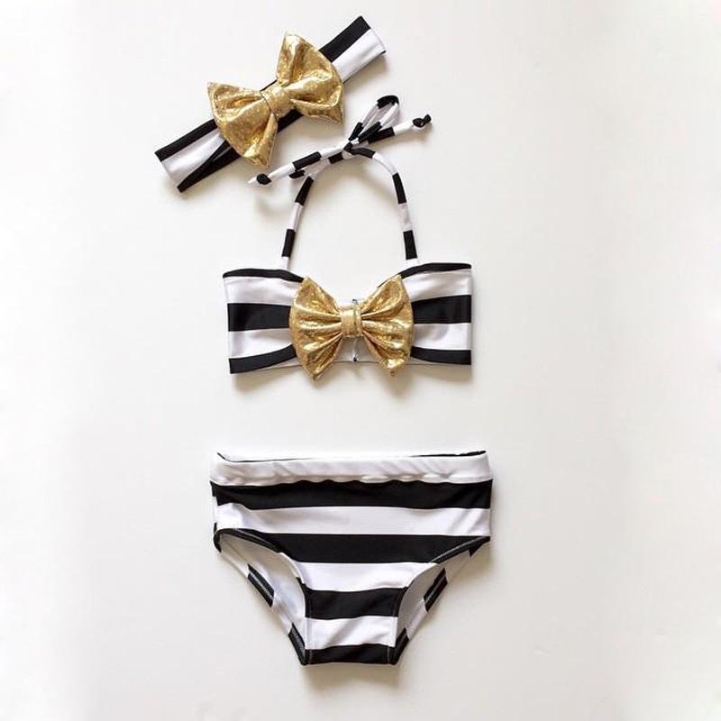 2016 Summer Bikini Butterfly Striped Baby Girls Striped Bow Bikini Set Swimwear Swimsuit Swimming Bathing Beachwear High Quality(China (Mainland))