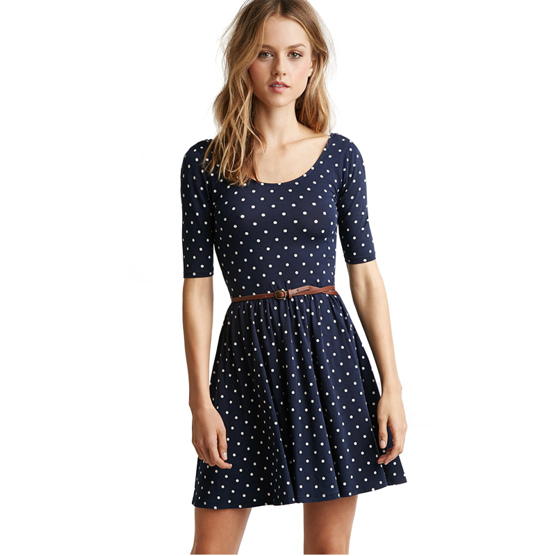 2015 New Fashion Summer Style Women Casual Dress Short Sleeve Polka Dot Print Elegant Midi Dress