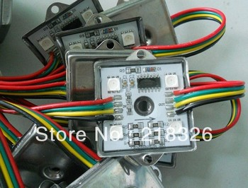 20pcs/string waterproof led pixel module,4pcs SMD RGB 5050,1pcs WS2801,256 gray level,DC12V