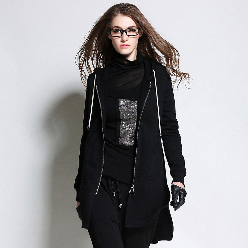 2016 spring new black hooded zipper long trech coat long loose coat women models coatОдежда и ак�е��уары<br><br><br>Aliexpress
