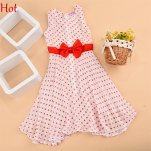 2016 New summer lovely cute girls dress kids polka dots A-line leisure fashion dresses with bow children clothing