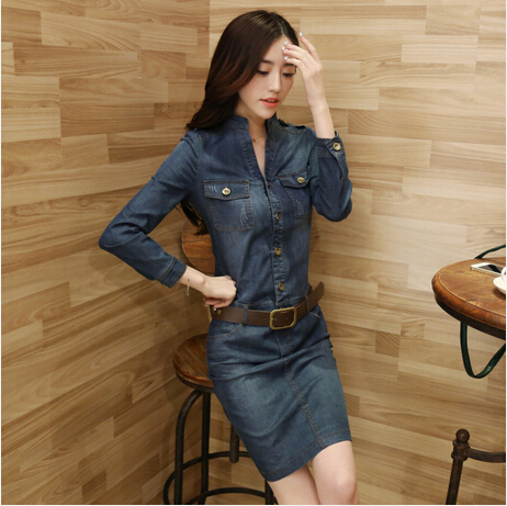 Famous Design European And American New Fashion Womens Blue Thin Denim Dress Slim Jeans Dress With Belt Free ShippingОдежда и ак�е��уары<br><br><br>Aliexpress