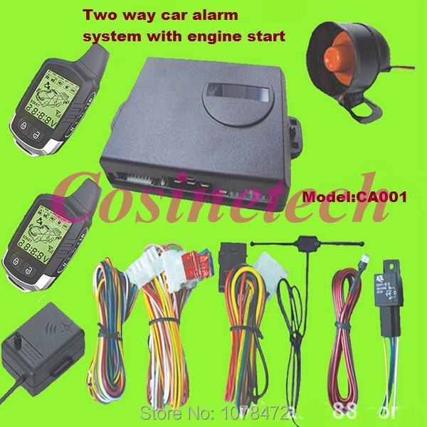 Hot sales Two Way LCD car Alarm System vehicle security alarm system with built-in remote engine start<br><br>Aliexpress