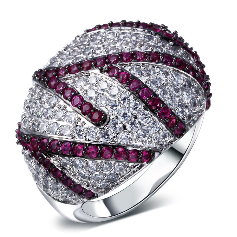 Elegant Jewelery Clear and ruby cubic zirconia ring 2015 new design jewelry zirconia rings top grade