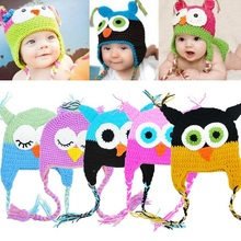 16  Styles Beautiful Toddler Baby Girls Boys Owls Animal Crochet Knit Woolly Cap Ear Hat 6-18 months(China (Mainland))
