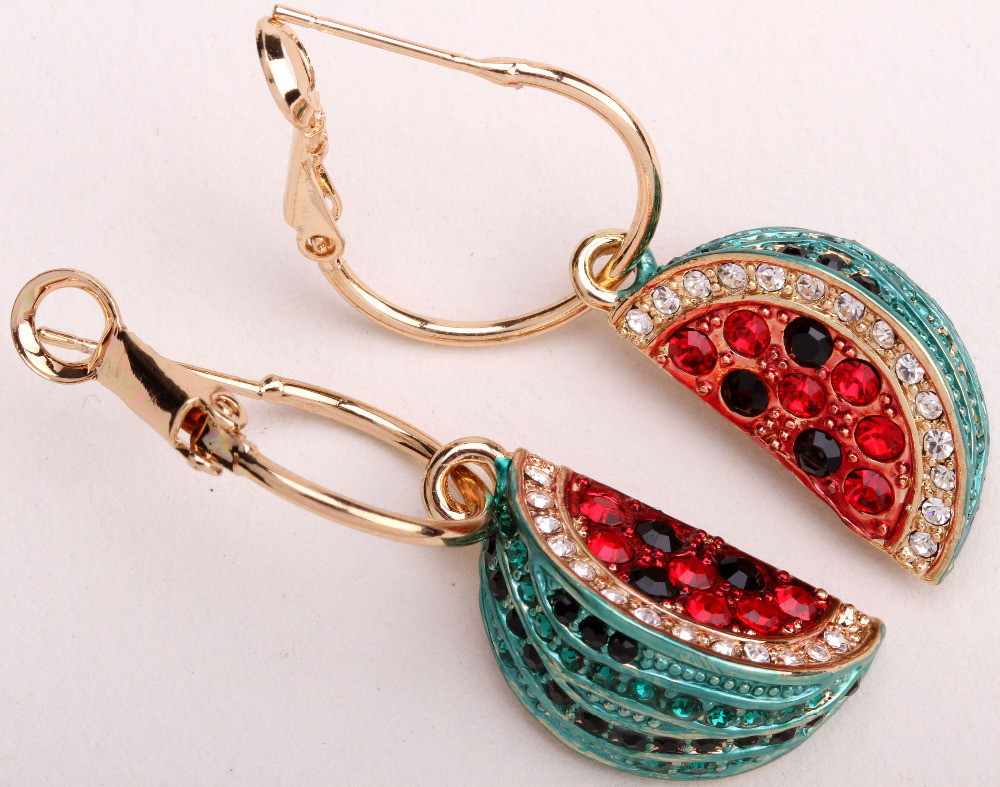 Watermelon dangle earrings for women crystal rhinestone charm summer fashion jewelry wholesale dropship(China (Mainland))