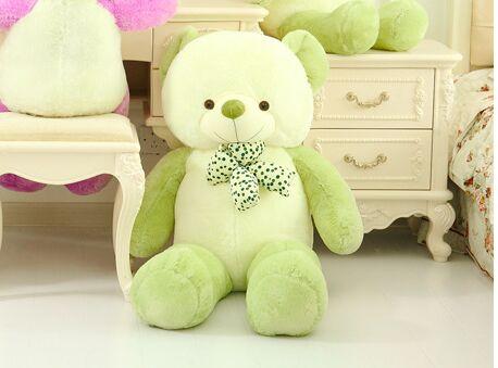 Фотография plush new light green&white Teddy bear toy lovely bow bear doll gift about 80cm