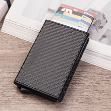 2019 New Smart card holder Vintage PU Leather Coin Purses Magnetic Closing Card case Casual Men wallet RFID Blocking Card Wallet(China)
