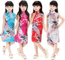 2016 Baby Kids Girls Peacock Dress Cheongsam Chinese Qipao Floral Pattern Dress Summer Style