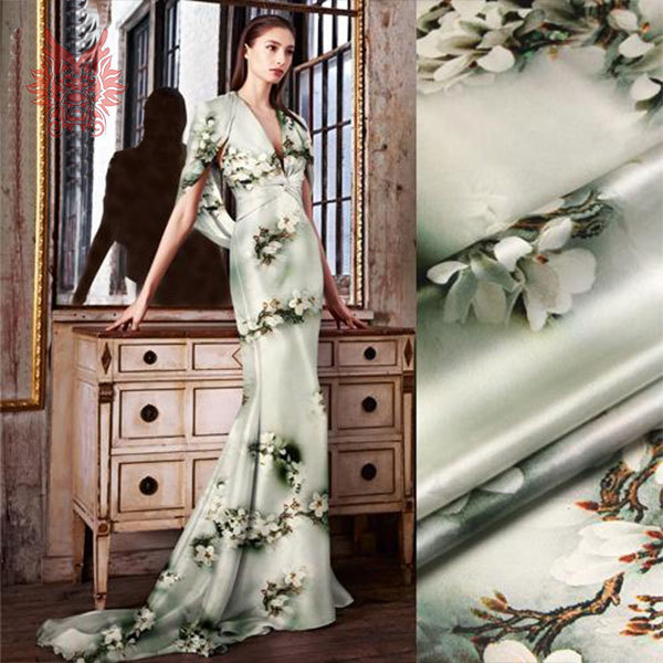 Luxury green floral digital print spandex/silk fabric for dress,shirt,suit,heavy charmeuse silk yarn 19mm free shipping SP1309