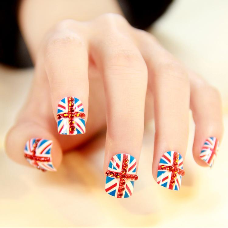New 2014 Nail art decoration sticker,Nail polish british flag nail art decorations, short adhesive false nail(China (Mainland))