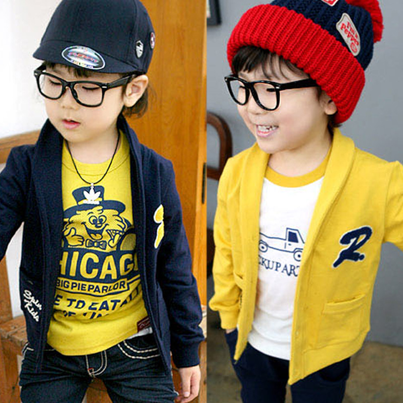 Spring Boys Letter R Knitting Single-breasted Cardigan Outerwear Jackets children clothing for kids boys new wearing clothing(China (Mainland))