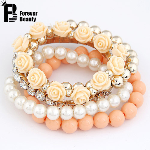2015 Bohemian Fashion Candy Color Pearl Rose Flower Multilayer Beads Stretch Charm Bracelet & Bangle For Women pulseras mujer(China (Mainland))