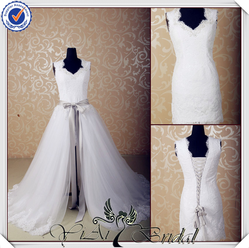 Jj3565 real sample detachable skirt short removable train for Short wedding dress with removable train