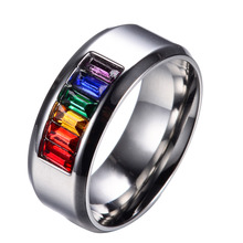 Male Summer Fine Coloful Jewelry Size 6-13 Gorgeous Rainbow Silver Titanium Steel Rings For Men Bague Homme Whosesale R020(China (Mainland))