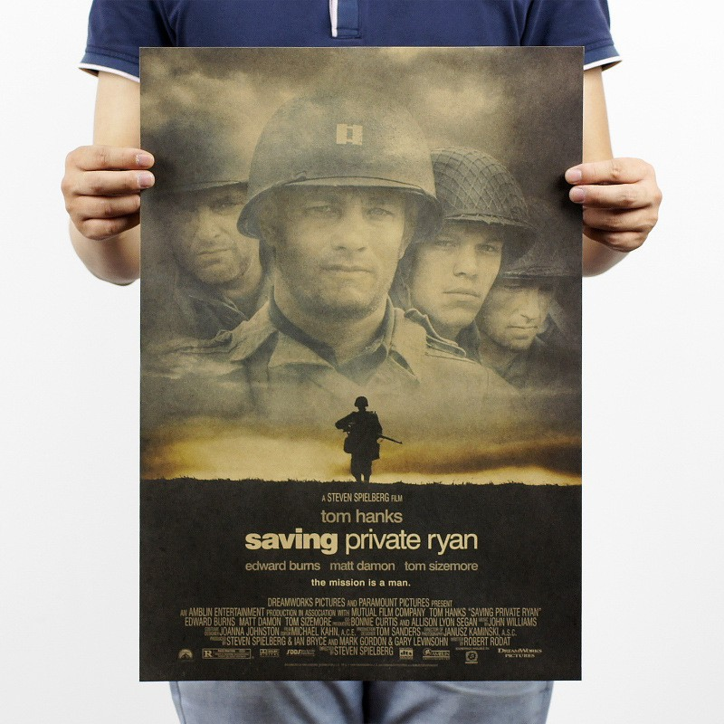 saving private Ryan/war film kraft paper decorative painting posters/bar 51x35.5cm classic poster vintage retro paper craft(China (Mainland))