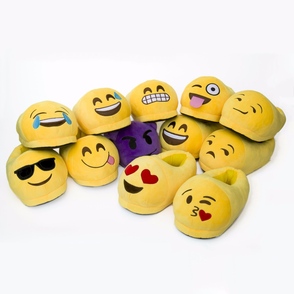 2016 Emoji Slippers Cartoon Plush Slipper Home With The Full Expression Women/ Men Slippers Winter House Shoes One Pair(China (Mainland))