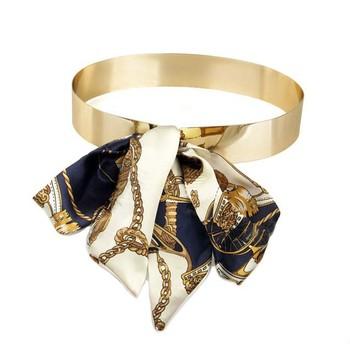 Free Shipping Designer Belts Women Fashion 2015 Embellished Metal Keeper Metallic Bling Gold Mirror Wide Obi Belt Corset,(M 55)