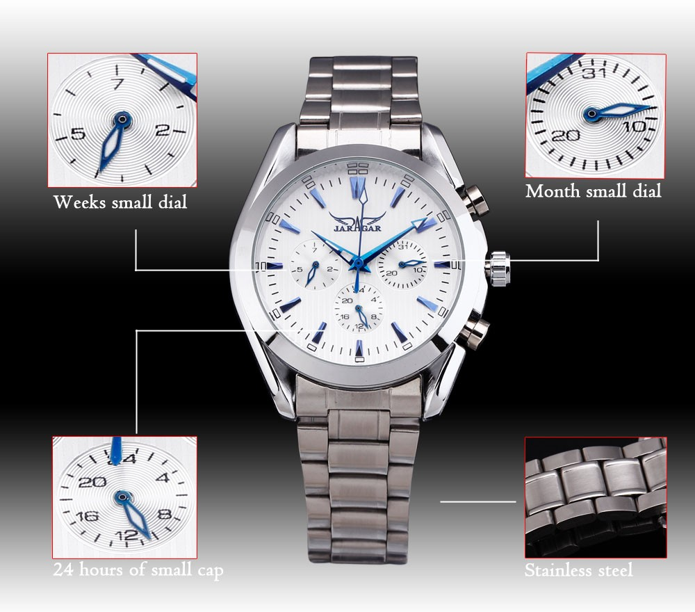 top steel men's watches men luxury brand casual dress relojes vintage blue pin chronogragh dial new automatic mechanical watch
