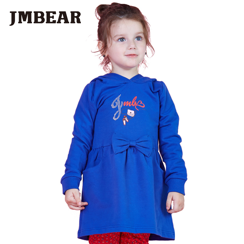 JMBEAR girl dresses wedding clothes kids evening dress Long Sleeve letter printing children clothing cute style(China (Mainland))
