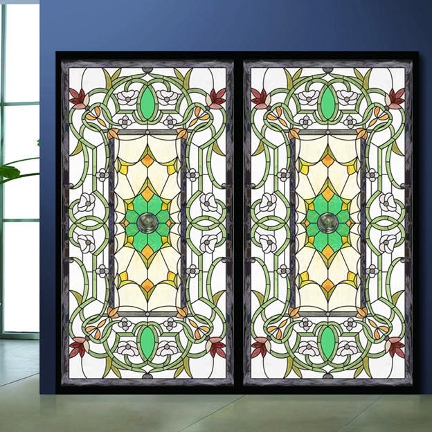 Colored drawing glass film wardrobe bathroom sticker for Stained glass window film