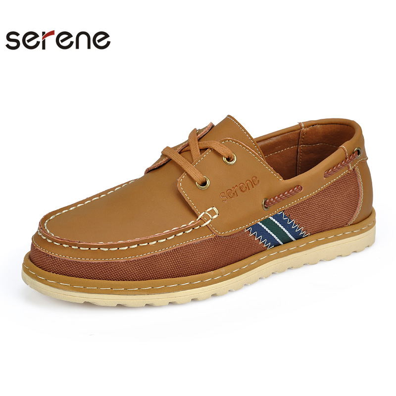 serene s leather canvas stitching shoes lace up flats