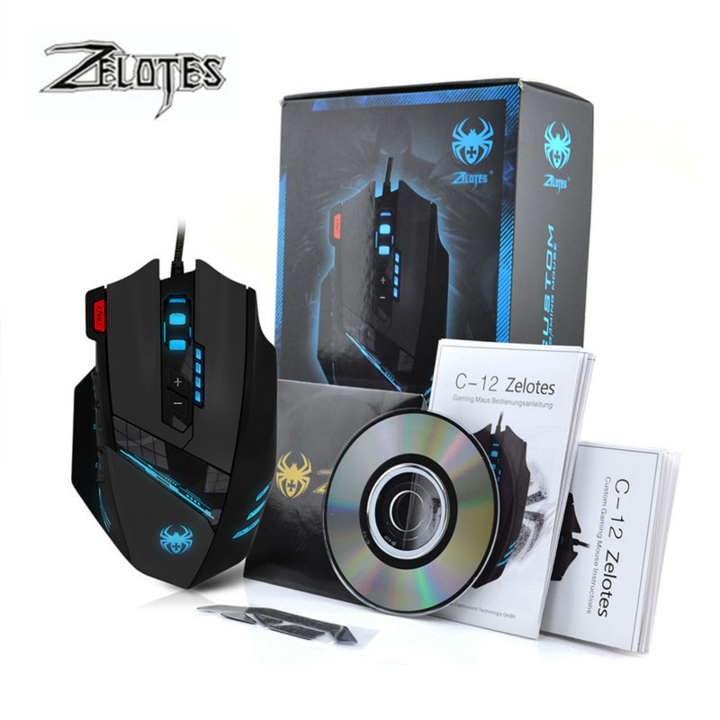 ZELOTES C12 Macro Wired USB Gaming mouse 4000DPI 12 Buttons Programmable Computer game mice with led light Driver for pc gamer(China (Mainland))