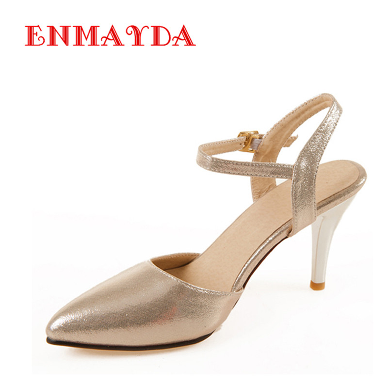 ENMAYDA Plus Size 34-43 High Quality Lace-Up Work Party Weeding Gold Blue Red Silver Pointed Toe Polished Pumps Woman Shoes(China (Mainland))