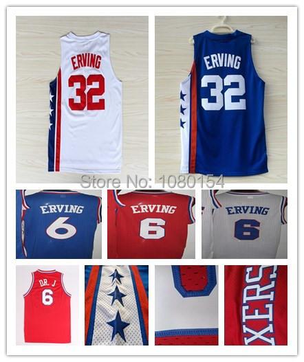 Men's 32 Julius Erving College ABA Throwback Basketball Jersey Shirt Mesh White Blue Red Philadelphia 6 DR.J Camiseta Size S-XXL(China (Mainland))
