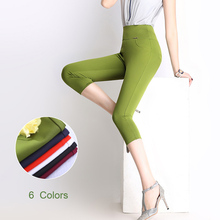 6 Colors S-6XL Ladies Stretch Capris Pants 2016 Summer New Women Casual OL Skinny Cropped Pants Plus Size Elastic Pants Capris(China (Mainland))