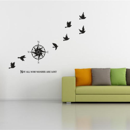 Large Birds Flying Compass Wall Decor Mural Stickers Vinyl Quote Decals Home Art(China (Mainland))