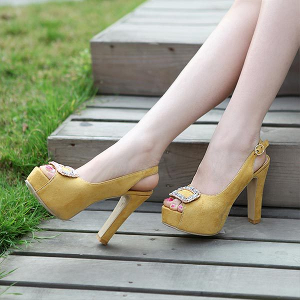 Hot 2015 New summer thick heels lady peep toe sandals fashion platform open pumps women shoes high party V681