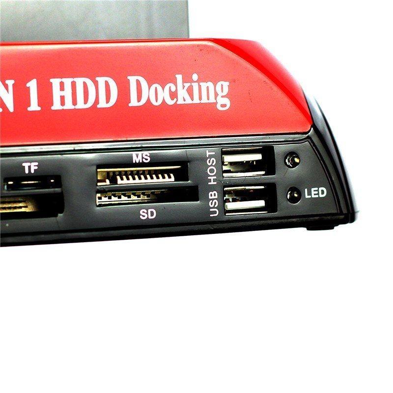"""ถูก ทั้งหมดใน1 2.5 """"3.5"""" IDE SATA HDDฮาร์ดไดรฟ์ดิสก์โคลนผู้ถือท่าเรือสถานีเชื่อมต่อ"""